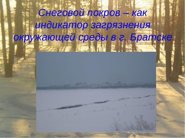 Снеговой покров – как индикатор загрязнения окружающей среды в г. Братске
