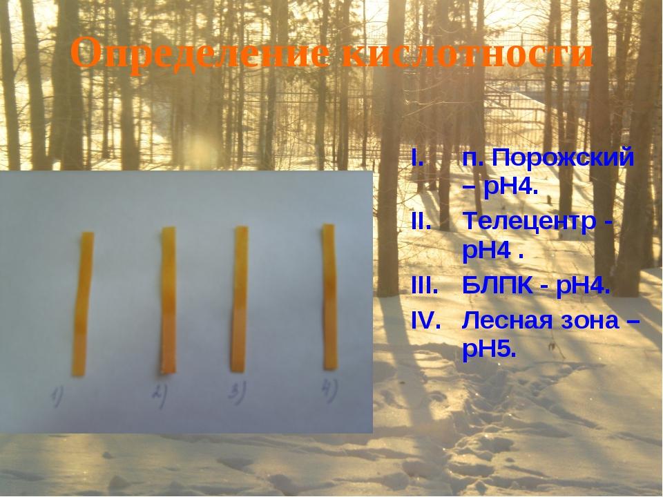 Определение кислотности п. Порожский – pH4. Телецентр - pH4 . БЛПК - pH4. Лес...