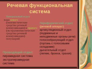 Речевая функциональная система Центральный отдел: кора левого (лингвистическ