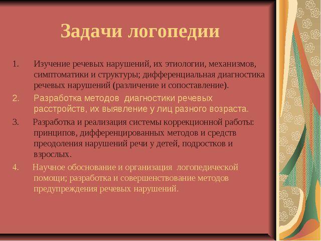 Задачи логопедии Изучение речевых нарушений, их этиологии, механизмов, симпто...