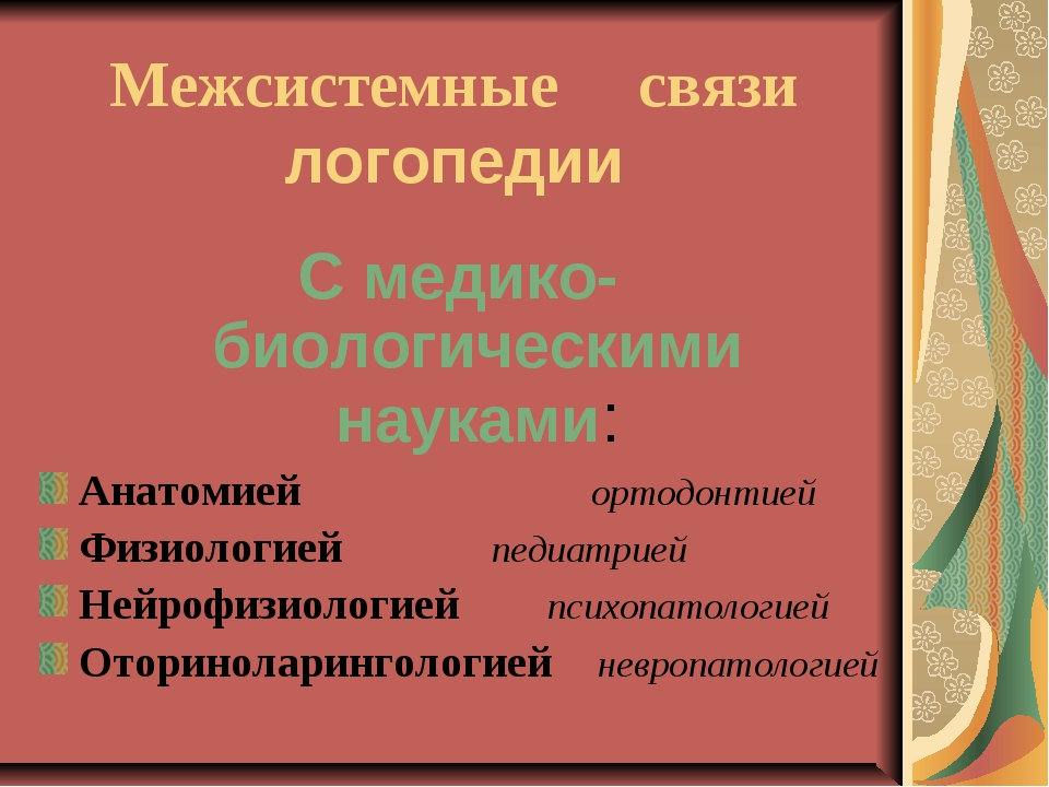 Межсистемные связи логопедии С медико-биологическими науками: Анатомией орт...