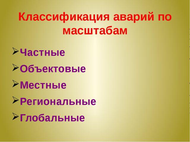 Классификация аварий по масштабам Частные Объектовые Местные Региональные Гло...