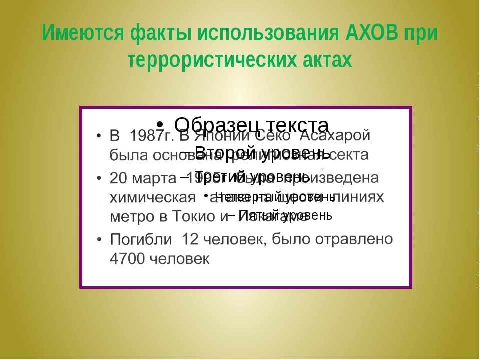 Имеются факты использования АХОВ при террористических актах