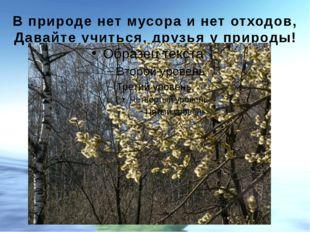 В природе нет мусора и нет отходов, Давайте учиться, друзья у природы!