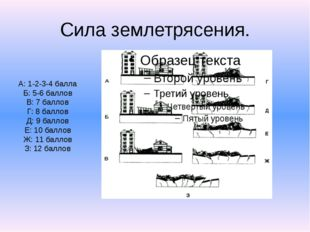 Сила землетрясения. А: 1-2-3-4 балла Б: 5-6 баллов В: 7 баллов Г: 8 баллов Д: