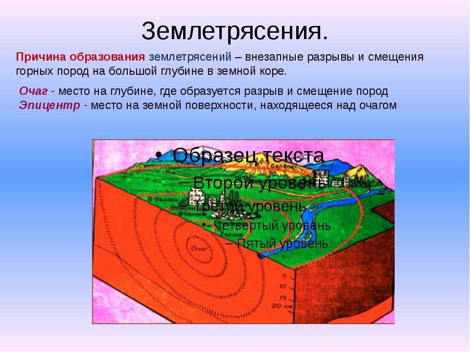 Землетрясения. Причина образования землетрясений – внезапные разрывы и смещен...