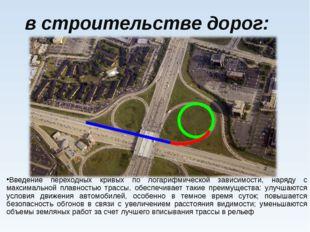 в строительстве дорог: Введение переходных кривых по логарифмической зависим