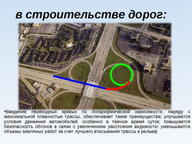 в строительстве дорог: Введение переходных кривых по логарифмической зависим...
