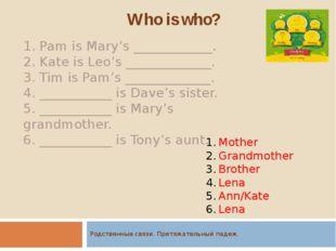 Родственные связи. Притяжательный падеж. Who is who? 1. Pam is Mary's _______