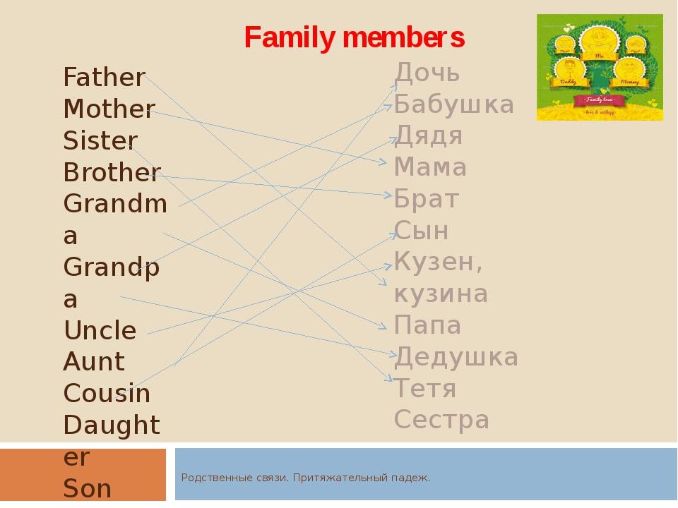 Родственные связи. Притяжательный падеж. Family members Father Mother Sister...
