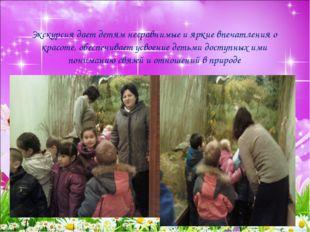 Экскурсия дает детям несравнимые и яркие впечатления о красоте, обеспечивает
