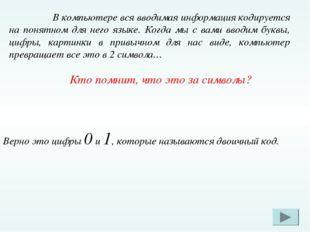 В компьютере вся вводимая информация кодируется на понятном для него языке.