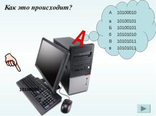 10100010 Как это происходит? А10100010 а10100101 Б10100101 б10101010 В10