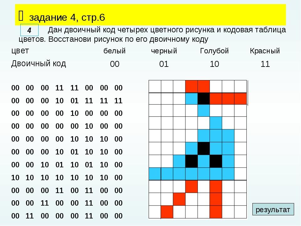  задание 4, стр.6 Дан двоичный код четырех цветного рисунка и кодовая таблиц...