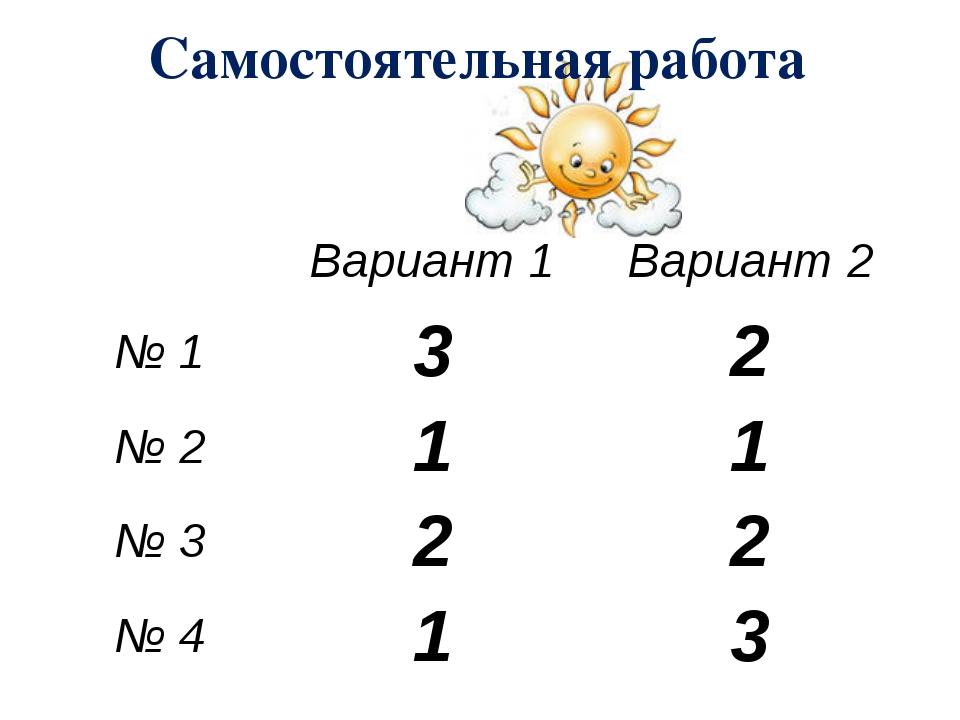 Самостоятельная работа Вариант 1 Вариант 2 № 1 3 2 № 2 1 1 № 3 2 2 № 4 1 3