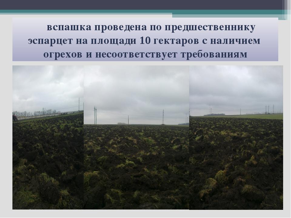 вспашка проведена по предшественнику эспарцет на площади 10 гектаров с налич...