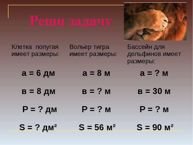 Реши задачу Клетка попугая имеет размеры:Вольер тигра имеет размеры:Бассейн...