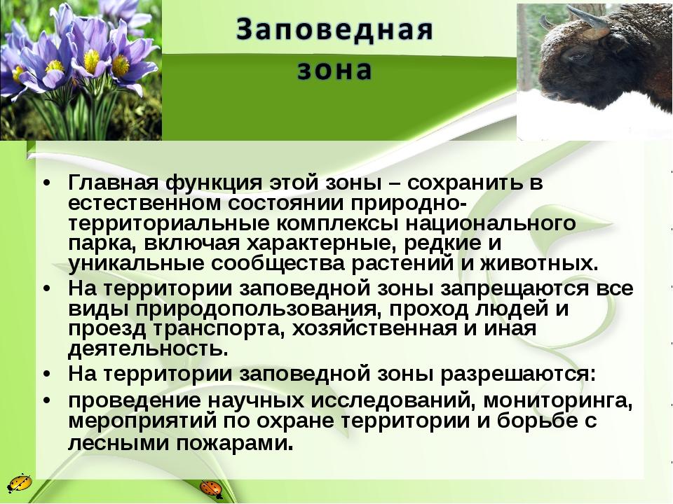 Главная функция этой зоны – сохранить в естественном состоянии природно-терр...