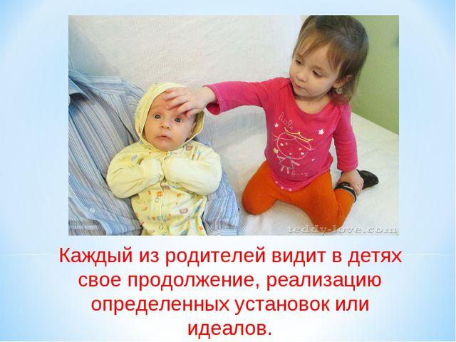 Каждый из родителей видит в детях свое продолжение, реализацию определенных у...