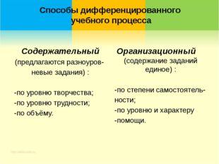 Содержательный (предлагаются разноуров- невые задания) : -по уровню творчеств
