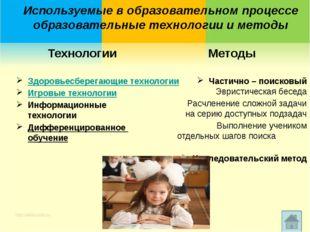 Используемые в образовательном процессе образовательные технологии и методы