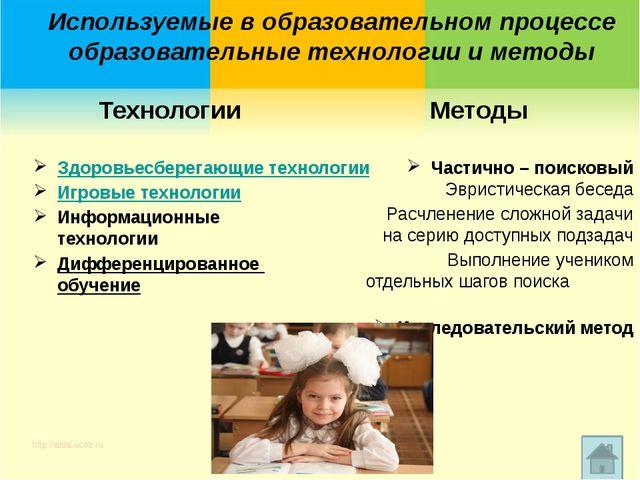 Используемые в образовательном процессе образовательные технологии и методы...