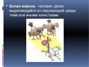 Белая ворона- человек, резко выделяющийся из окружающей среды теми или иными