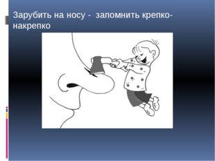 Зарубить на носу - запомнить крепко-накрепко