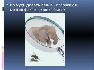Из мухи делать слона- превращать мелкий факт в целое событие