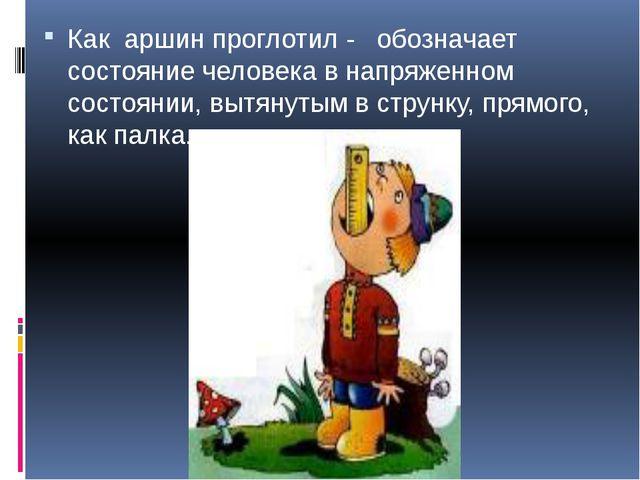Как аршин проглотил - обозначает состояние человека в напряженном состоянии,...