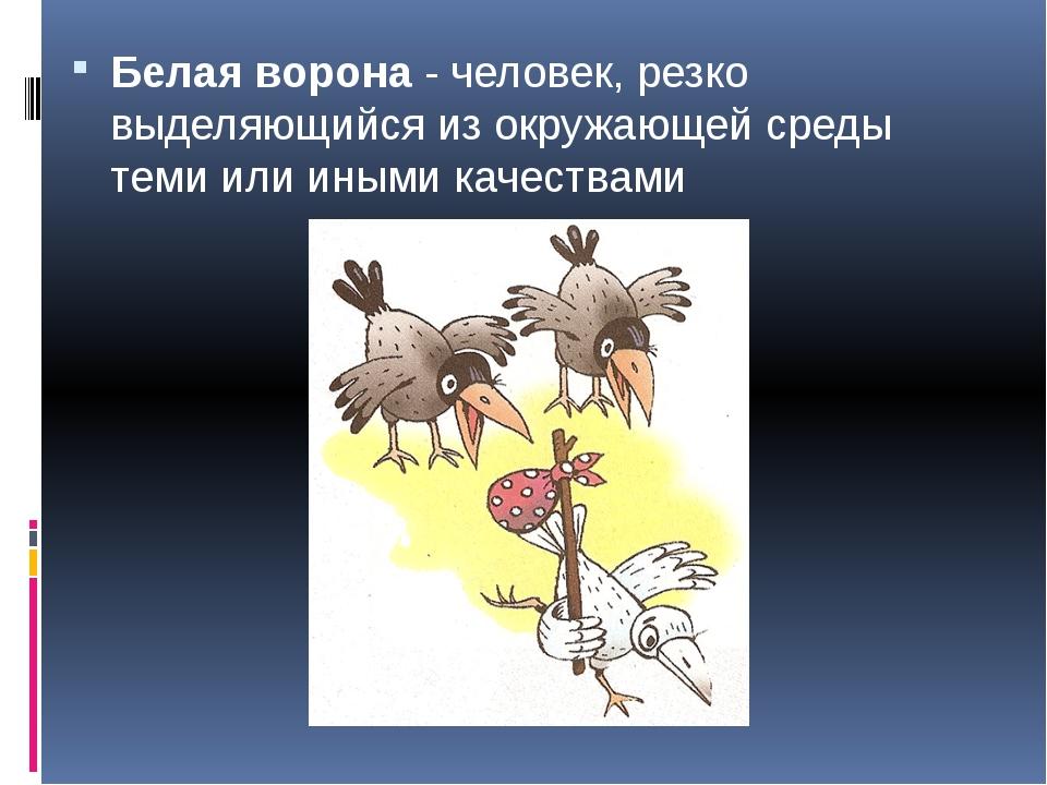 Белая ворона- человек, резко выделяющийся из окружающей среды теми или иными...