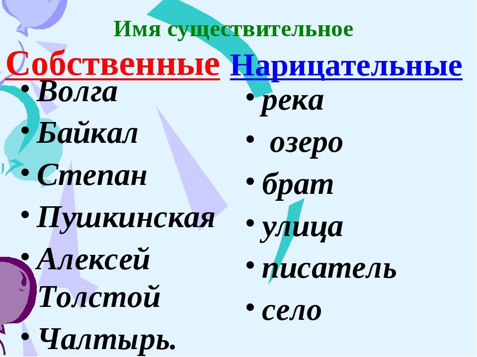 Имя существительное Собственные Волга Байкал Степан Пушкинская Алексей Толсто...