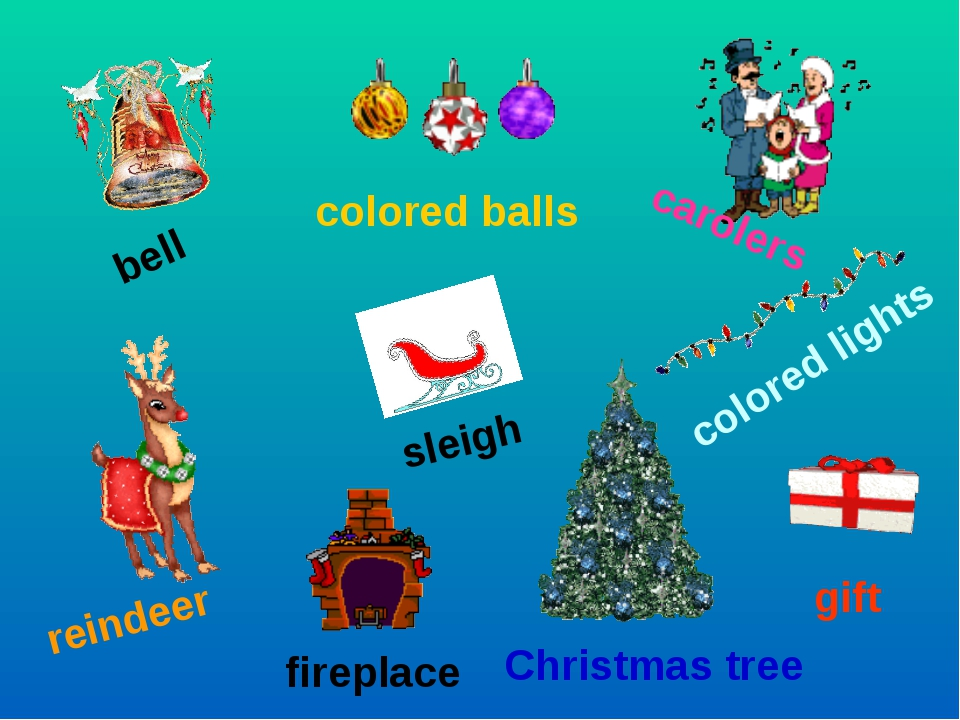 bell colored balls carolers sleigh reindeer fireplace colored lights gift Chr...