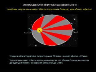 Перигелий Афелий М1 М2 М3 М4 Планеты движутся вокруг Солнца неравномерно: лин