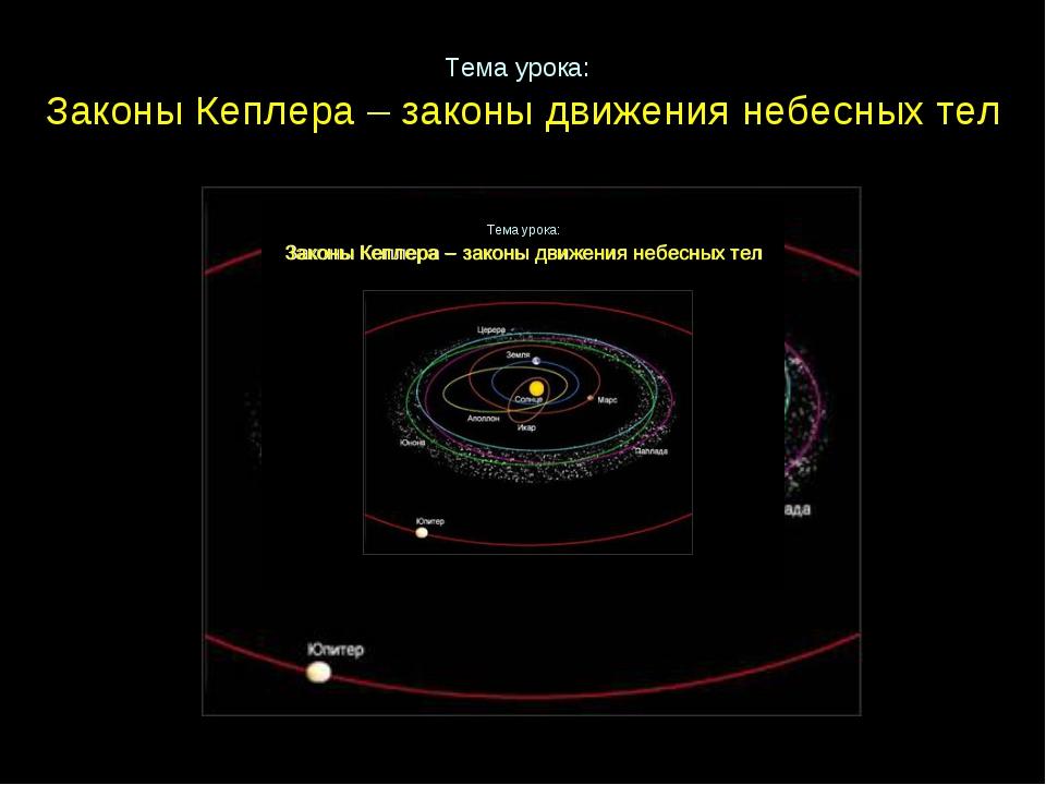 Тема урока: Законы Кеплера – законы движения небесных тел