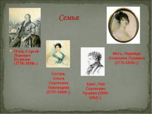 Отец, Сергей Львович Пушкин (1770-1838г.) Мать, Надежда Осиповна Пушкина (177