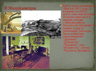 Сразу после окончания Лицея в 1817 году, и вторично в 1819 г. после тяжелой б