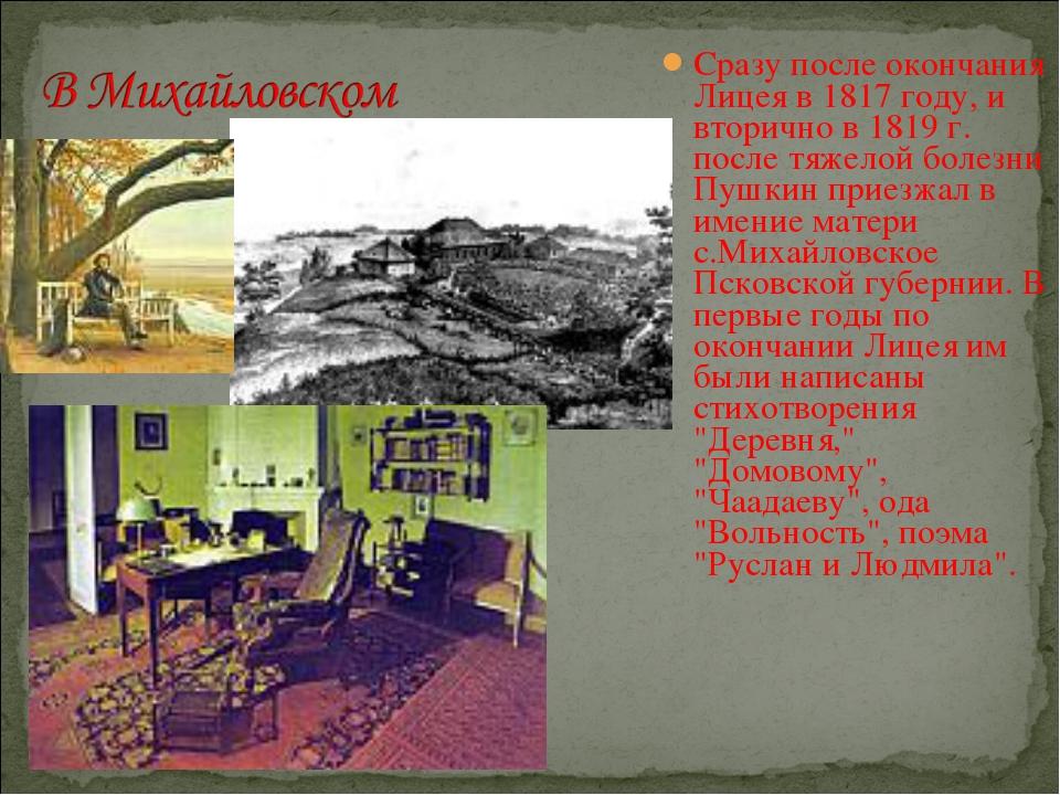 Сразу после окончания Лицея в 1817 году, и вторично в 1819 г. после тяжелой б...