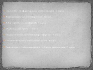 Этапы и сроки проведения проекта: Этапы проведения проекта «Мозговой штурм»