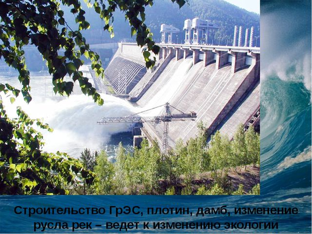 Строительство ГрЭС, плотин, дамб, изменение русла рек – ведет к изменению эко...