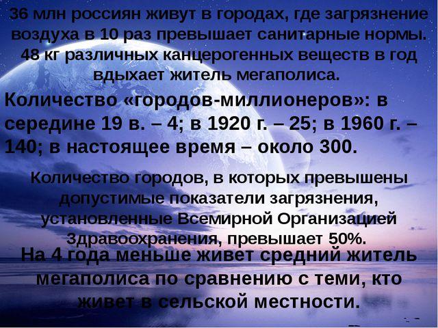 36 млн россиян живут в городах, где загрязнение воздуха в 10 раз превышает са...