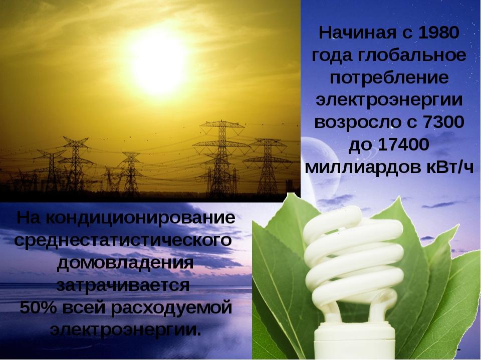 Начиная с 1980 года глобальное потребление электроэнергии возросло с 7300 до...