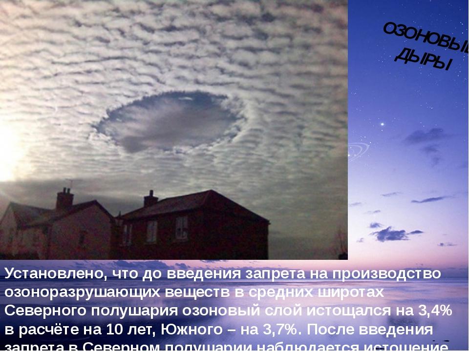 Установлено, что до введения запрета на производство озоноразрушающих веществ...
