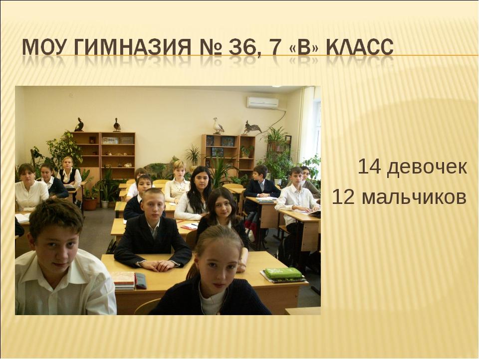 14 девочек 12 мальчиков