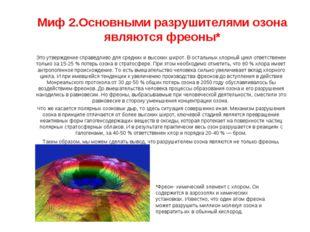 Миф 2.Основными разрушителями озона являются фреоны* Это утверждение справедл