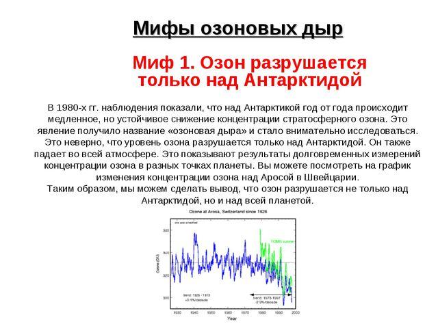 Мифы озоновых дыр Миф 1. Озон разрушается только над Антарктидой В 1980-х гг...