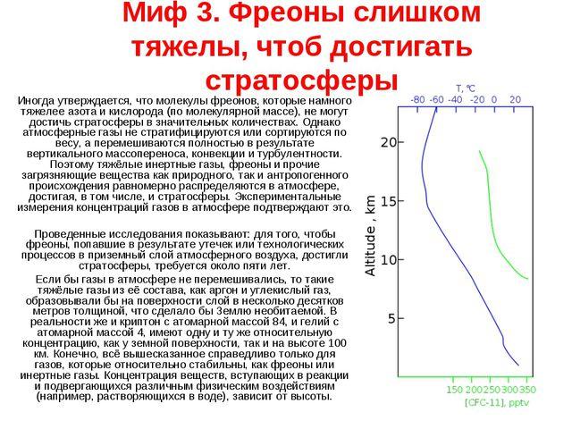 Миф 3. Фреоны слишком тяжелы, чтоб достигать стратосферы Иногда утверждается,...