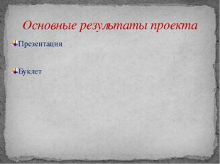 Презентация Буклет Основные результаты проекта