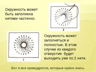 Окружность может быть заполнена нитями частично. Окружность может заполняться