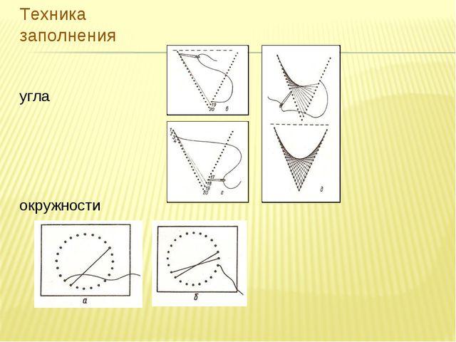 Техника заполнения угла окружности